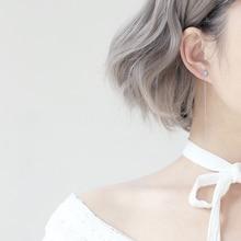 Silver Geometry Round Bead  Long Tassel Earrings 925 Cat Eye Natural Stone Drop Earrings for Women Simple Earring Chain Jewelry все цены