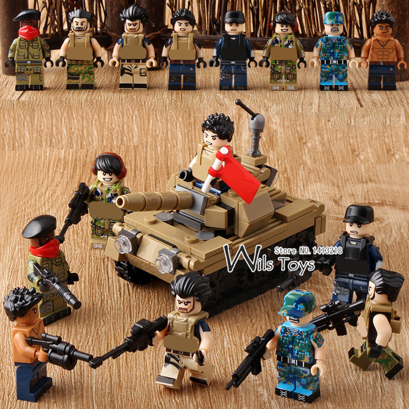 8 in 1 Warriors MILITARY Tank SWAT Soldier Creator Army Navy Seals Team Marines Building Blocks Figures Bricks Toys Boys Gifts xinlexin 317p 4in1 military boys blocks soldier war weapon cannon dog bricks building blocks sets swat classic toys for children