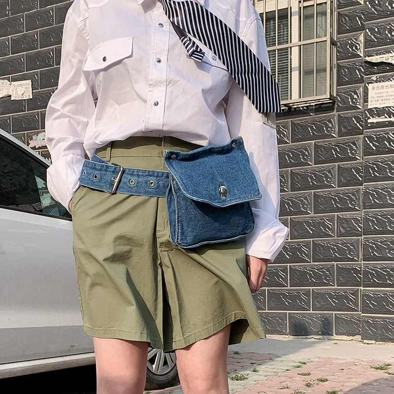 Moda feminina retro engraçado azul denim pequeno peito cintura cinto praia crossbody bolsa de ombro pacote bolsa feminina