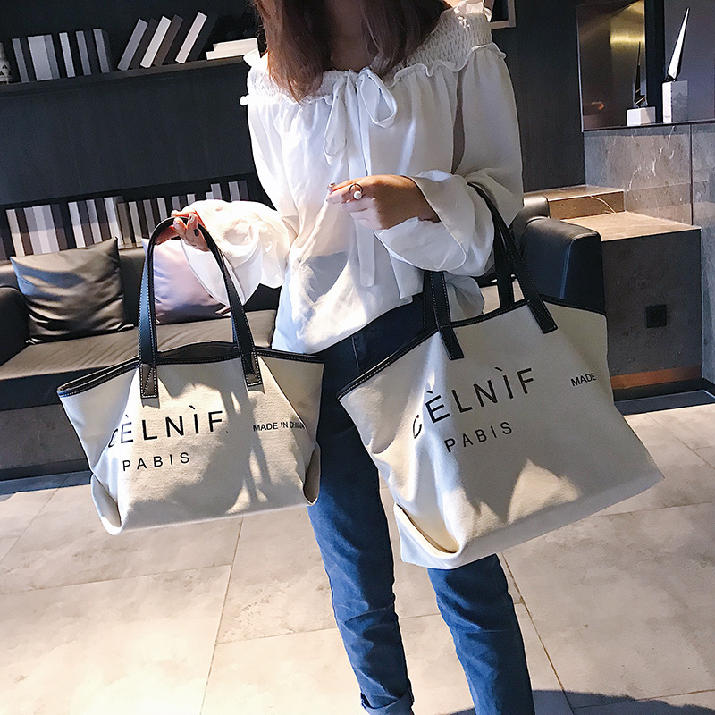 New Fashion Designer Handbags Famous Brand Shoulder Bags Canvas large capacity simple shopping bag with letter