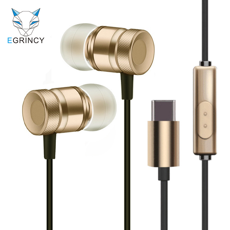 EGRINCY USB Type-C In-Ear Metal Earphone Wire Control Headset Type C Digital Earphone For Letv LeEco 2 max 2 Pro3 Xiaomi 6 note3 usb type c metal hi fi stereo earphones wired control type c earbuds for huawei google moto z letv leeco le max 2 pro htc phone