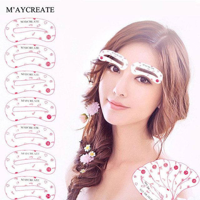 MayCreat 24 styles reusable Eyebrow stencil pencil for eyebrows enhancer drawing guide card brow template DIY make up Tools