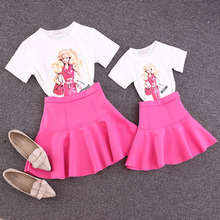 Family clothing sets new 2015 summer Barbie printing T-shirt + skirt 2 PCS set Mother and daughter set Girls Women clothing