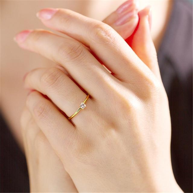 0.19CT Princess Cut Square 4-Prong 14K Yellow Gold Engagement Ring