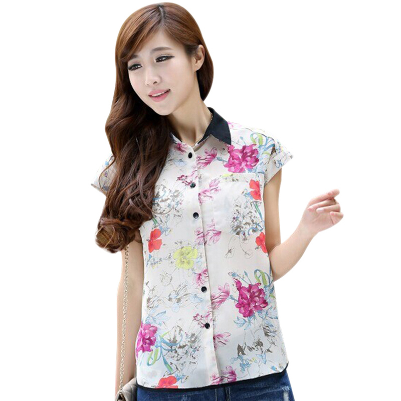 CONTRAST TRIM FLORAL PRINTS DIPPED HEM CHIFFON BLOUSE TOP MULTICOLOR Freeshipping
