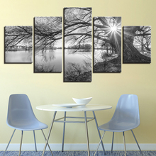 Lakeside Big Trees Paintings Black White Landscape Home Decor