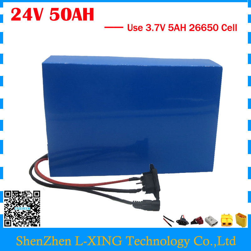High capacity 24V 50AH e-scooter battery 24V 50AH Lithium battery 3.7V 5AH 26650 Cell 50A BMS with 5A Charger Free customs tax free customs fee 1000w 36v 17 5ah battery pack 36 v lithium ion battery 18ah use samsung 3500mah cell 30a bms with 2a charger