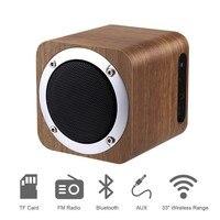 レトロな木製のbluetooth 4.0ワイヤレススピーカーfmラジオ1800 mah充電式バッテリーusbサポートaux tfカードmp3プレーヤースピーカー