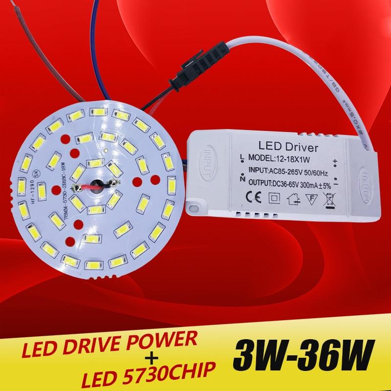 3W 7W 12W 18W 24W 36W 5730 SMD Light Board Led Lamp Panel For Ceiling + AC 100-265V LED power supply driver combination комплект душевой vidima севаджет m3 b9366aa ba190aa