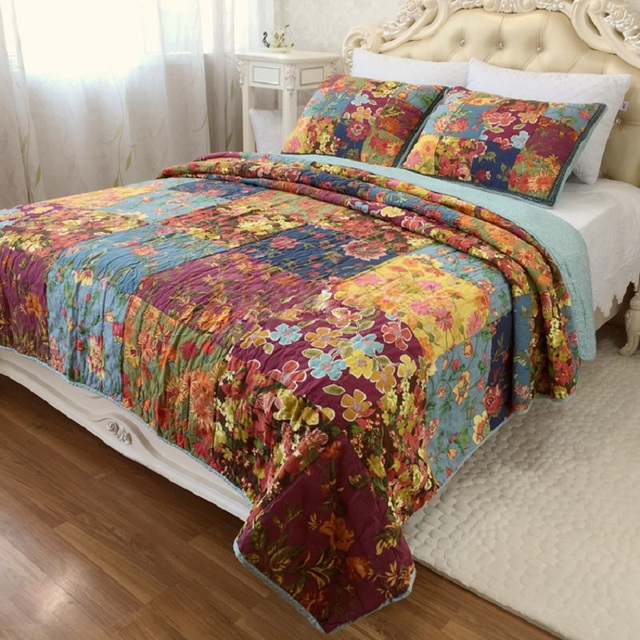 Lovely CHAUSUB Vintage Patchwork Quilt Set 3PCS Washed Cotton Quilts Handmade  Quilted Bedspread Printed Bed Cover King