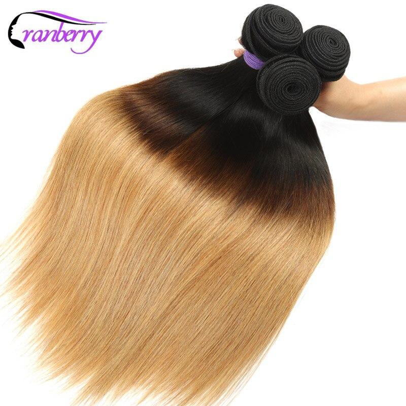Cranberry Hair Ombre Brazilian Straight Human Hair Weave Bundles 3 pcs T1B 4 27 Blonde Ombre