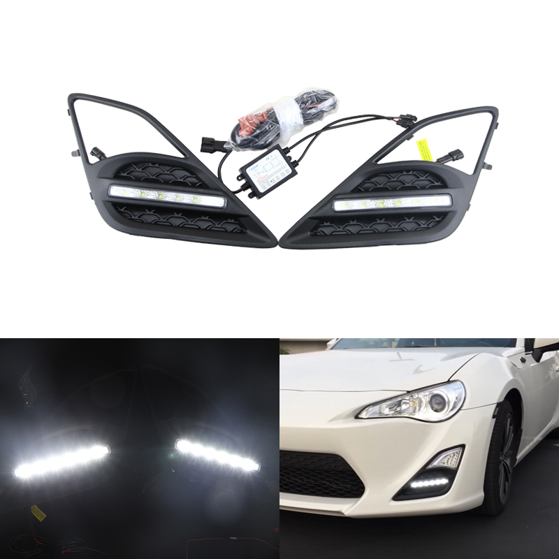 Fit Scion FR-S 13-16 For Subaru BRZ Led DRL Fog Light Xenon White Daytime Running Light Front Bumper Daylights Auto Car Led Lamp auto car led white drl driving daytime running light fog lamp daylights for hyundai ix35 2014 2017 2pcs free shipping d35