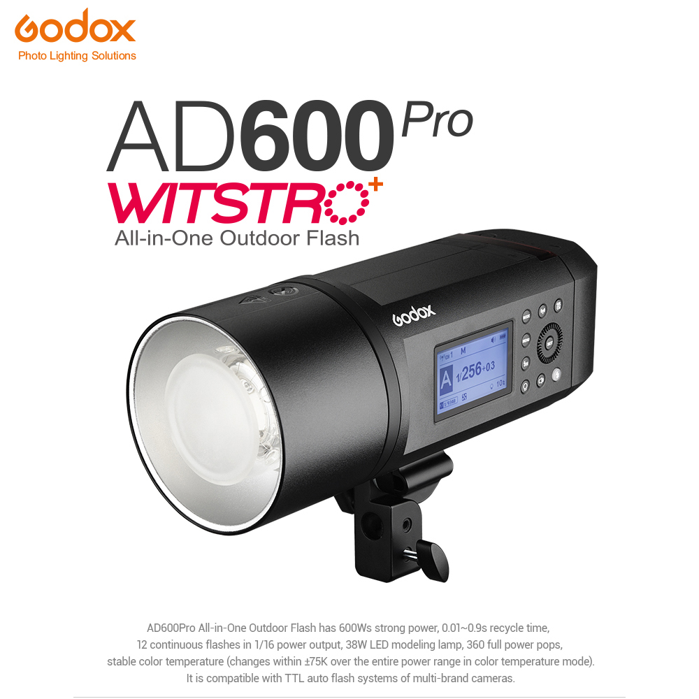 <font><b>Godox</b></font> AD600Pro WITSTRO All-in-One Outdoor Flash <font><b>AD600</b></font> <font><b>Pro</b></font> Li-on Battery TTL HSS Built-in 2.4G Wireless X System Bowens Mount image