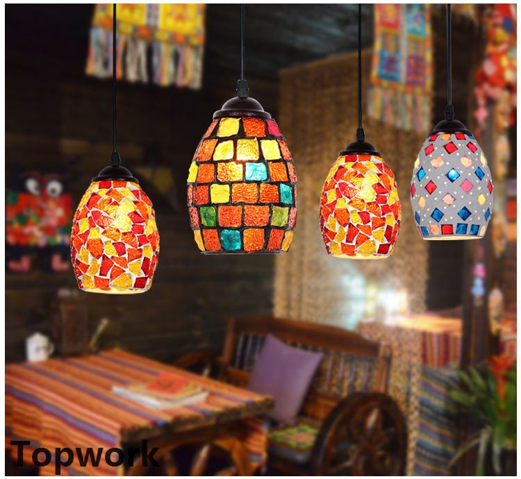 Moroccan Turkish Style Retro Vintage Pendant Light E27 Base Mediterranean Style Decoration Mosaic Hanging Lamp 19 Types