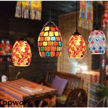 Lámpara colgante estilo turco marroquí Retro Vintage E27 Base decoración estilo mediterránea mosaico lámpara colgante 19 tipos