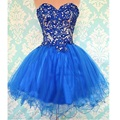 Royal Blue Lace Bodice Tulle Skirt Short Juniors Prom Party Homecoming Dresses 2017 Sweetheart Lace-up Back Knee Length