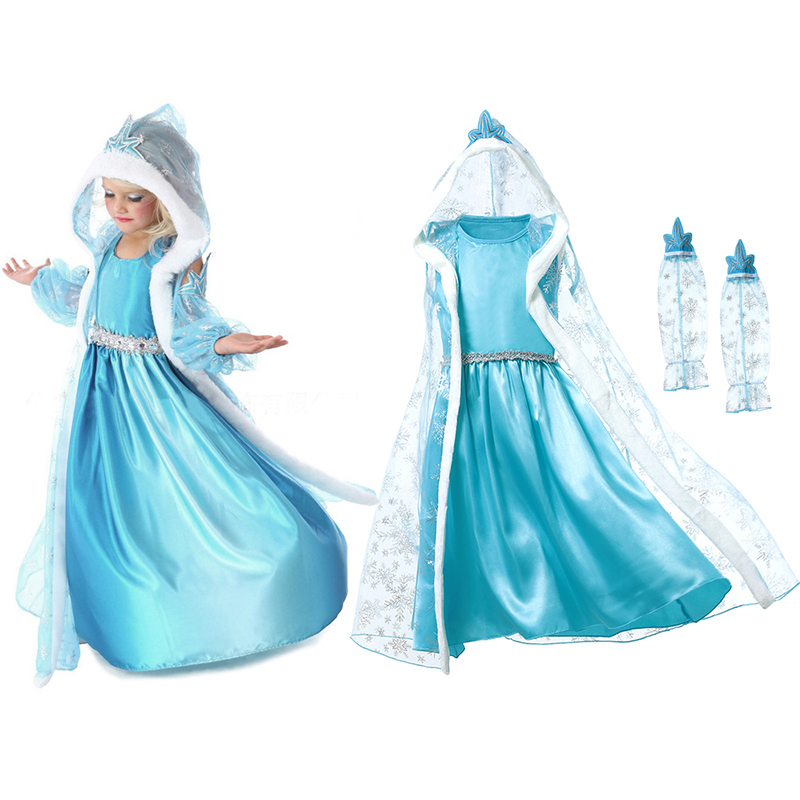 Girl Elsa Dress Children's Snow Queen Princess Cosplay Costume with Transparent Cloak Kids Party Christmas Dress up Blue Clothes high quality girl dresses 2017 princess party dress kids anna elsa cosplay costume the snow queen christmas baby girl clothes