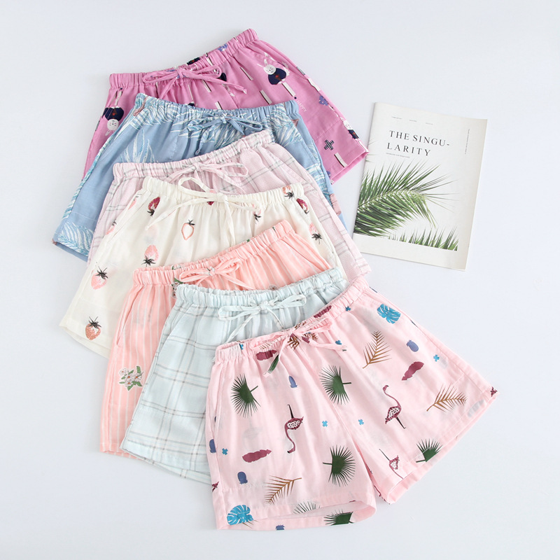 Summer Women Sleep Shorts Cotton Gauze Pajamas Pants Printing Sleep Bottoms Sleep Wear Sleeping Womens Lounge Wear Sleepwear