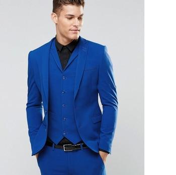 British Style Two Button Blue Groom Tuxedos Notch Lapel Groomsmen Best Man Mens Wedding Prom Suits (Jacket+Pants+Vest+Tie)