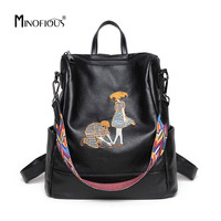 MINOFIOUS Soft Genuine Leather Backpack Embroidery Backpacks High Quality Ribbon School Bag Black Back Bags Shoulder Bag Women