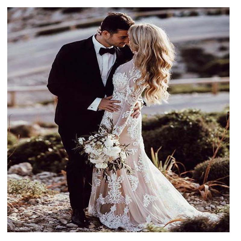 SOFUGE Boho Long Sleeve Wedding Dress Appliques Lace 2019 Robe De Mariee Vintage New Bridal Dress White Lace Vestido De Noiva