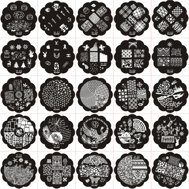 Nail Art 25Pcs Nail Stamping Plate Image Disc Transfer Print W ...