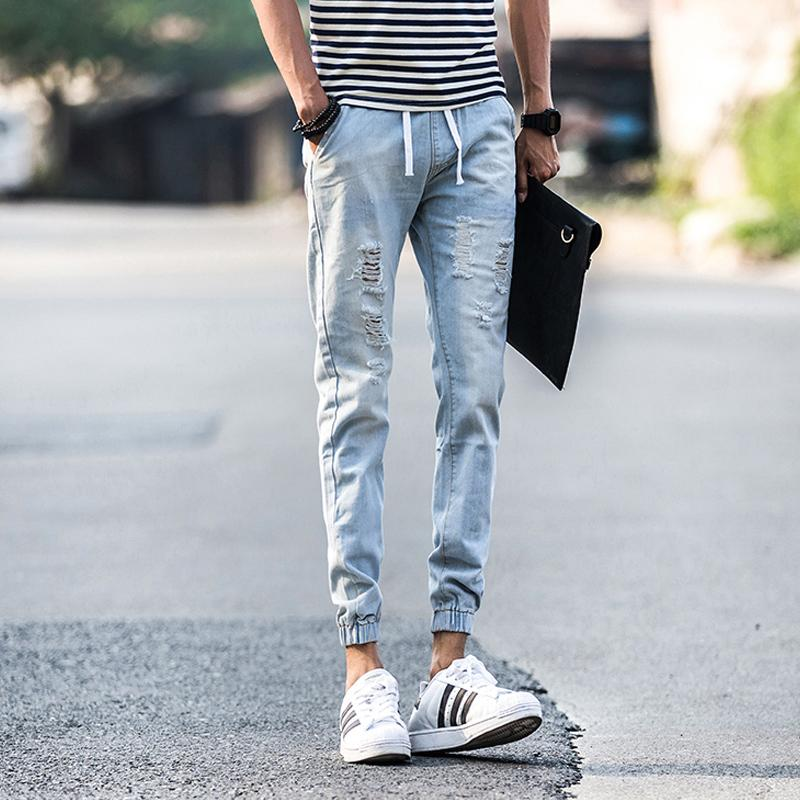 light blue ripped jeans men - Jean Yu Beauty