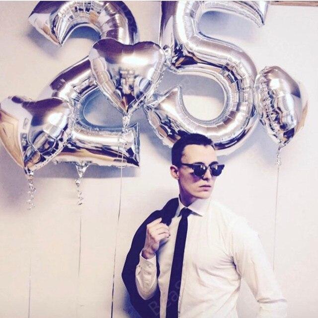2pcs Lot Large Size 40 Happy 25 Birthday Foil Number Balloons Sliver Black Rose