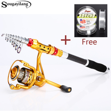 Sougayilang 2.1-3.6M Telescopic Carbon Fishing Rod and 13+1BB Fishing Reel Spinning Travel Fishing Rod Combo Free Fishing line