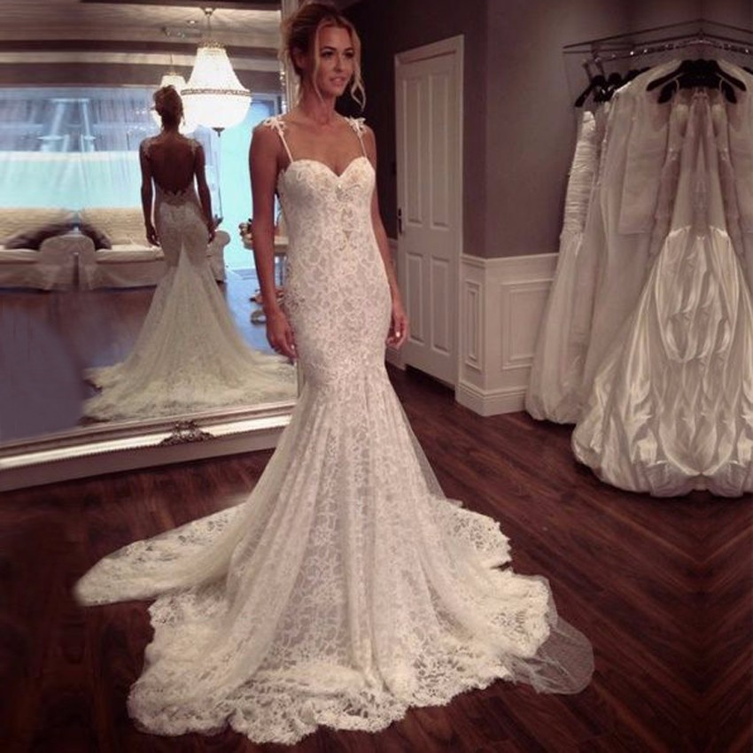 Lace Mermaid Wedding Gown With Straps: 2017 Court Train Bridal Gowns Spaghetti Straps Wedding