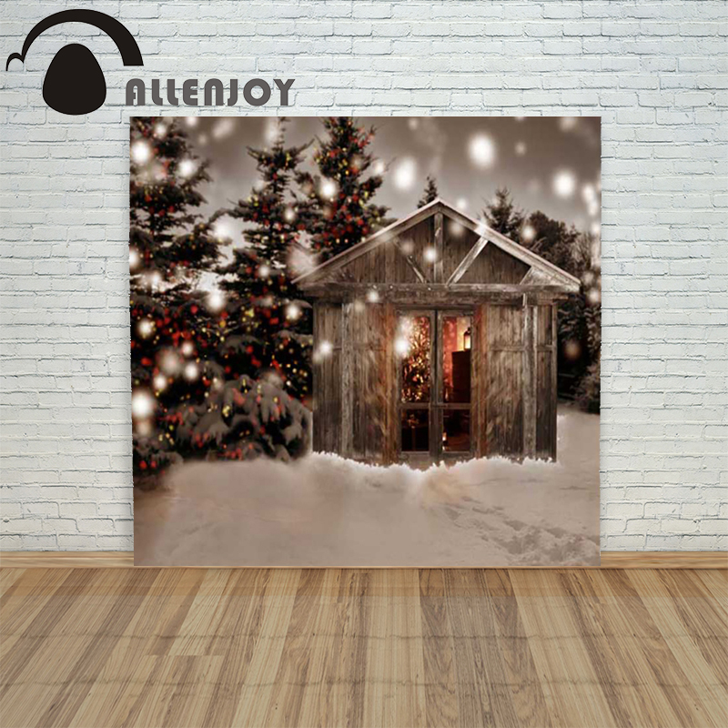 Allenjoy christmas photography backdrop Chalet snowy xmas tree forest children's camera photographic Customize festive allenjoy christmas photography backdrop halo golden luxury blur children s camera photocall photographic festive