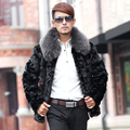 Real fur coat men genuine mink male coat marten fur overcoat natural fox fur collar free shipping New Phoenix