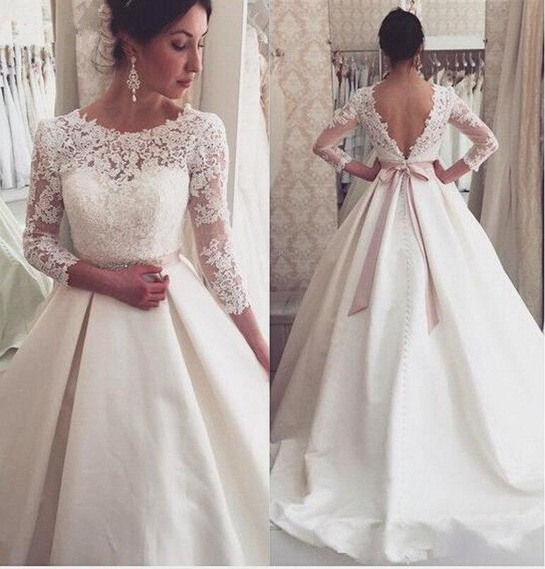 moda beige vestidos de novia 2017 o cuello 3/4 mangas de encaje sin