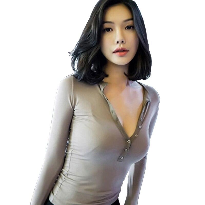 Korea new fashion T-shirt Sexy Women long sleeve deep v-neck slim Tshirt Female casual Tops Tee Summer autumn Soft Clothes