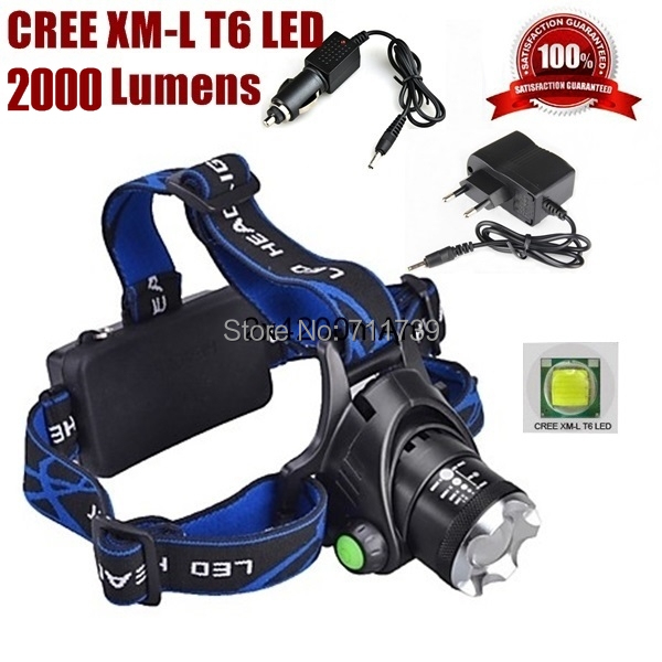 AloneFire HP79 Zoom cree led Phare Cree XM-L T6 LED 2000LM cree led Tête lampe led lumière pour 1/2x18650 + AC Chargeur/Voiture chargeur