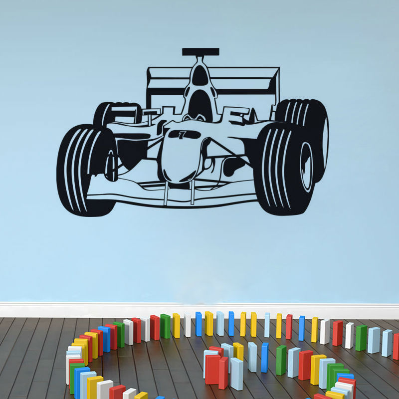 CaCar Factory Price High Quality Cartoon Racing Car Wall Sticker Vinyl Self Adhesive Kids Bedroom Home Decor HT3957