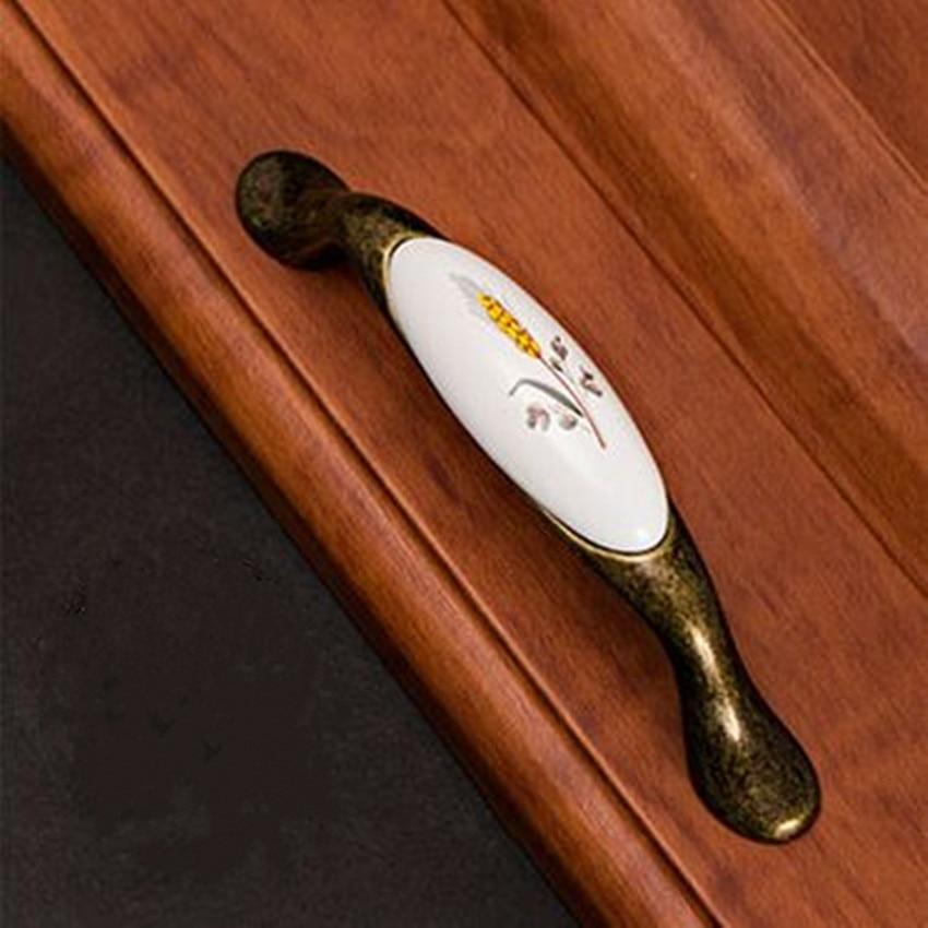 96mm antique brass kitchen cabinet handle rustico pastorale ceramic drawer knob bronze dresser cupboard furniture door handle салатник rustico малый 1179930