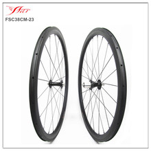 38mm x 23mm clincher tubeless ready Chris King hubs & Sapim cx-ray spokes , Farsports toray carbon bicycle wheels with 20h 24h