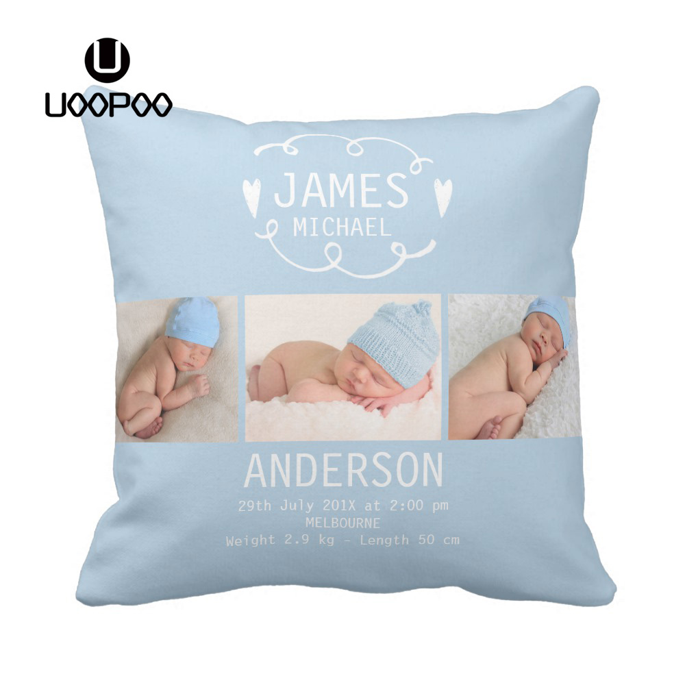 Rosa Kissenbezug Personalized Cute Elephant Baby Boy Birth Announcement Soft