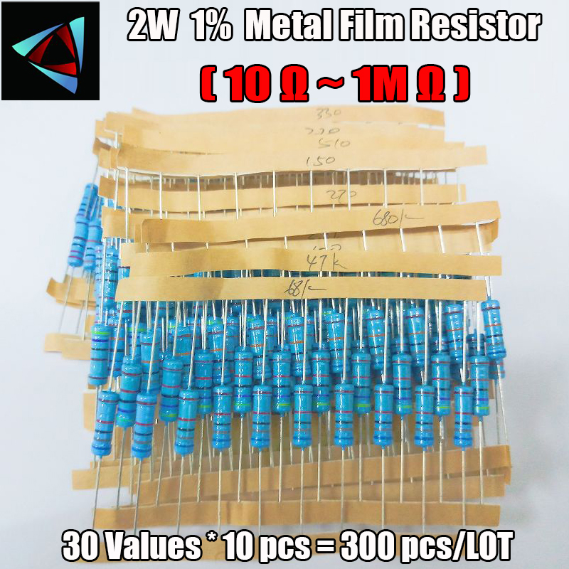 Total 300pcs 1% 2W Metal Film Resistor Assorted Kit 30Values*10pcs=300pcs (10 Ohm ~1M Ohm)
