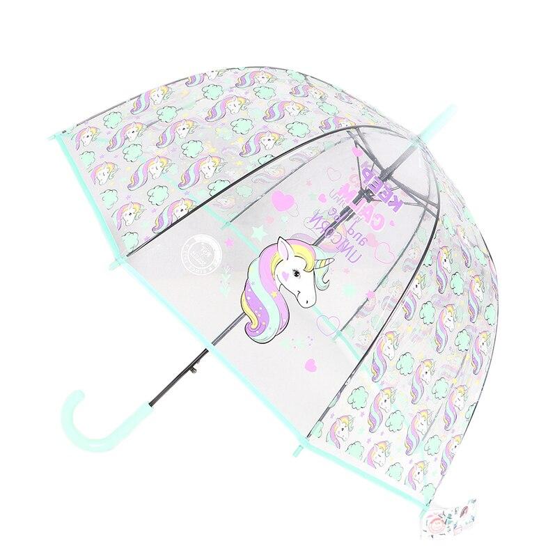 Los niños unicornio paraguas lindo paraguas transparentes Apollo Semi automática de dibujos animados de los niños paraguas envío de la gota