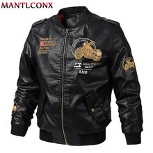 MANTLCONX Autumn New Brand Motorcycle Leather Jacket Men Bomber PU Leather Jackets jaqueta de couro masculina Mens Leather Coats