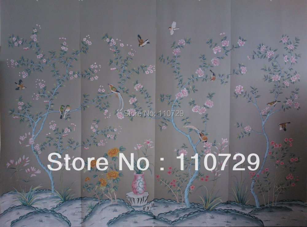 Hand painted silk wallpaper painting flower with birds/fence hand-painted TV/Bedroom/living room/dinning/sofa wallcovering paper iarts aha072962 hand painted thick texture of knife painting trees oil painting red 60 x 40cm
