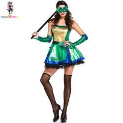 Зеленый ниндзя черепаха Косплэй Для женщин костюм Хэллоуин Костюмы воинов карнавал-маскарад для взрослых вечерние ангелы богиня форма
