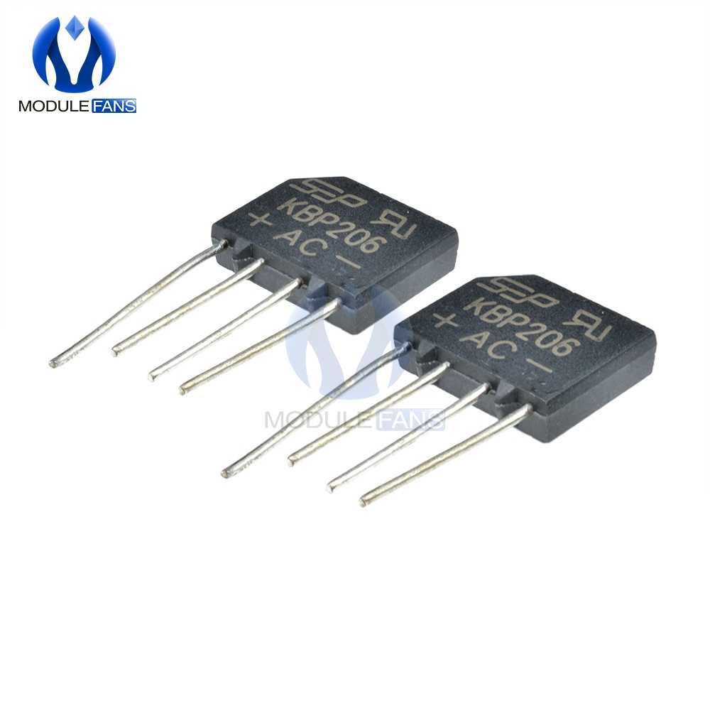 5pcs Diy Electronic Diode Bridge Rectifier 600V 2A KBP206G KBP206 4PIN SIP-4 Single Phase