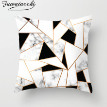 Fuwatacchi Geometric Cushion Cover Black White Pattern Throw Pillow Marble Pillowcases 45X45 Square
