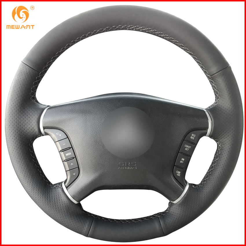 2008 Mitsubishi Galant Interior: MEWANT Black Genuine Leather Car Steering Wheel Cover For