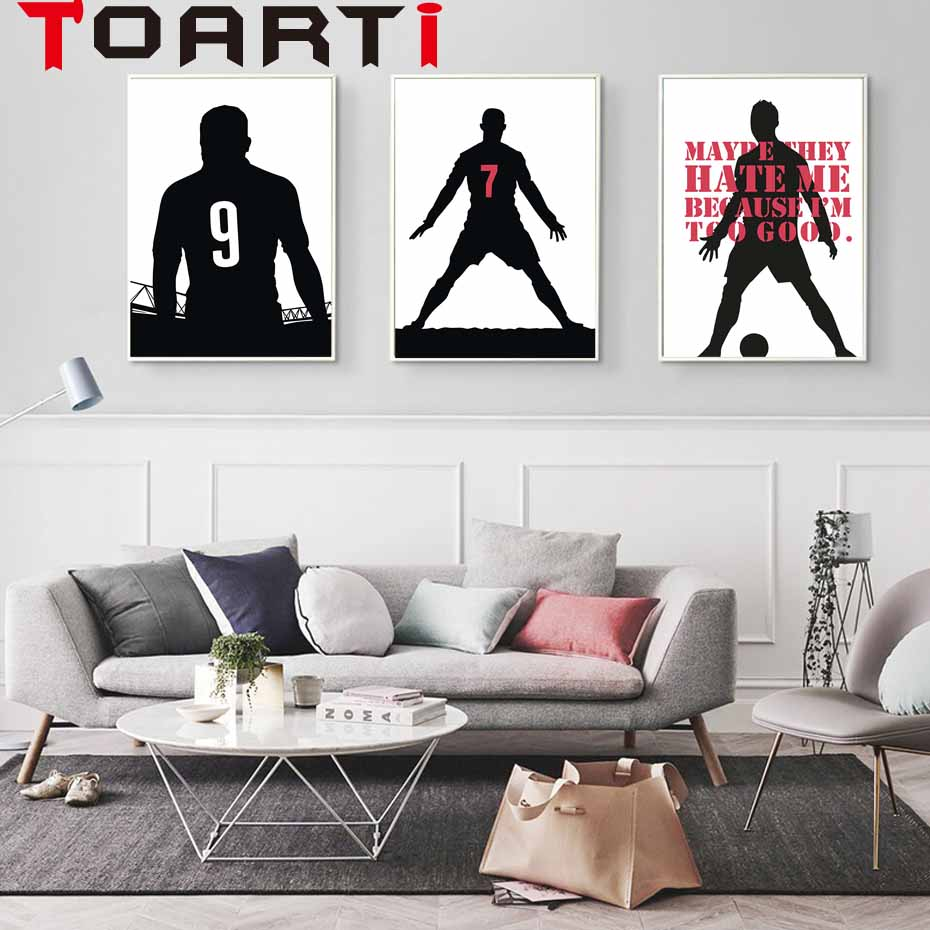 Super Soccer Star Canvas Painting Sports Football Ball Characters Silhouette Print Poster Art Wall Pictures For rooms Home Decor
