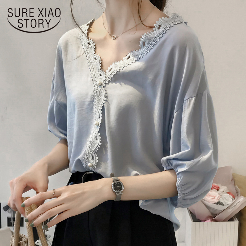 New 2018 Summer Chiffon Women Tops   Shirt   Fashion Short Sleeve Women   Blouse     Shirts   Solid Loose Female Clothing Blusas 0624 40