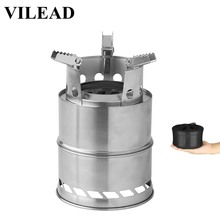 VILEAD Portable Folding Wood Stove Windproof Stainless Steel Bushcraft Camping Picnic BBQ Outdoor Hiking Cooking Tools Pic Nic